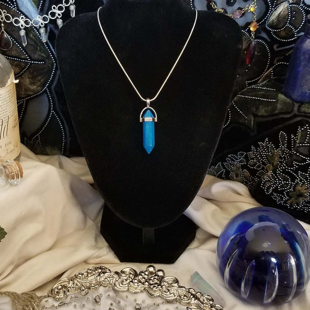 Blue Agate Pendant on Sterling Silver Chain
