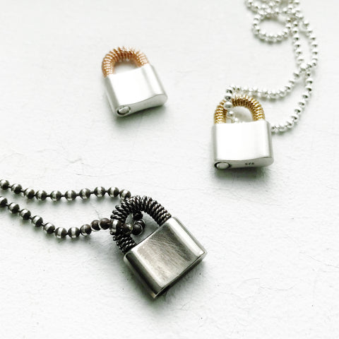 Wire Wrapped Padlock Necklace