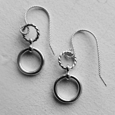 Double Circle Infinity Dangle Earrings