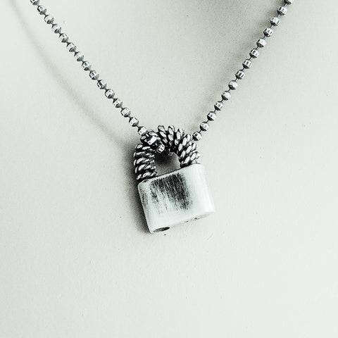 Wire Wrapped Mini Padlock Necklace