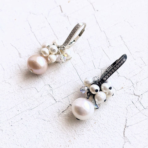 Multi-Pearl & Crystal Earrings