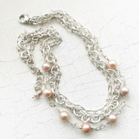 Large Blush Pearls & Multi-Chain Collar