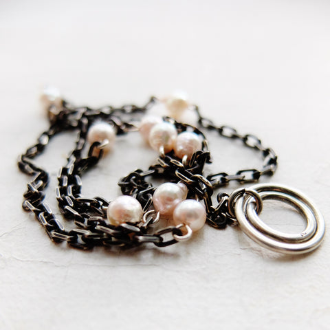 Pink Pearl & Chain Lariat Collar
