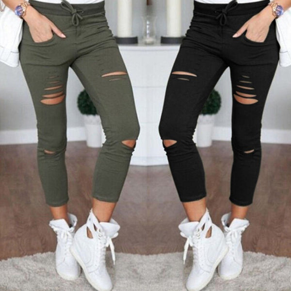 Women Black Torn Skinny Slim Pant High Waist