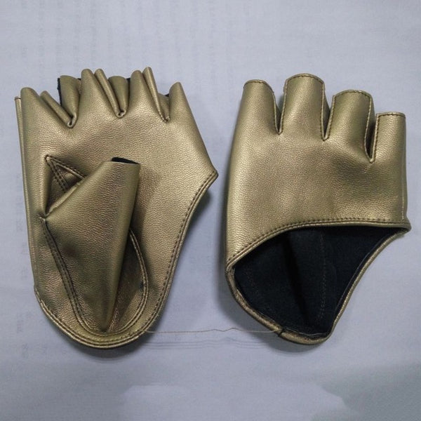Fashion Half Finger PU Leather Gloves Ladies