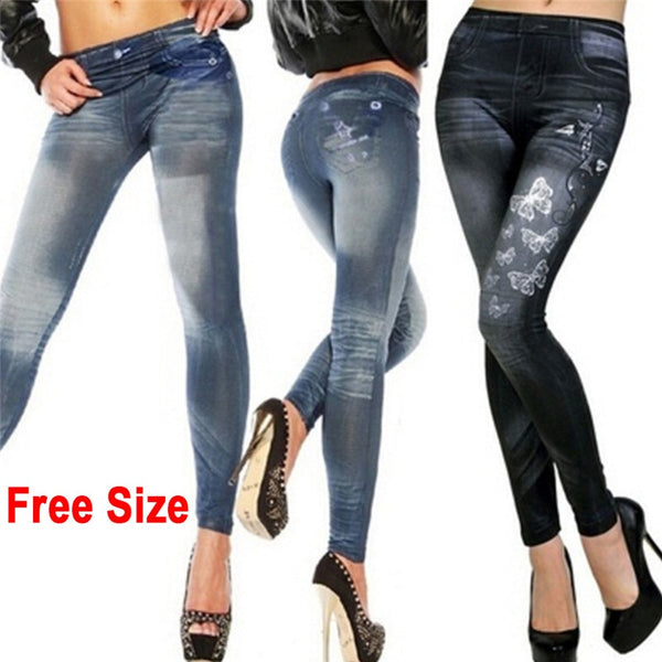Women Butterfly Printing Pencil Pants Skinny Jeans Trousers