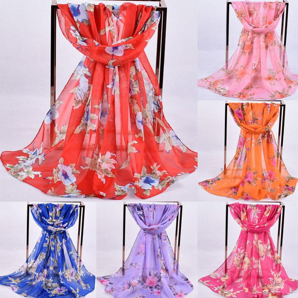 Women Scarves Wraps Printed Soft Chiffon Shawl