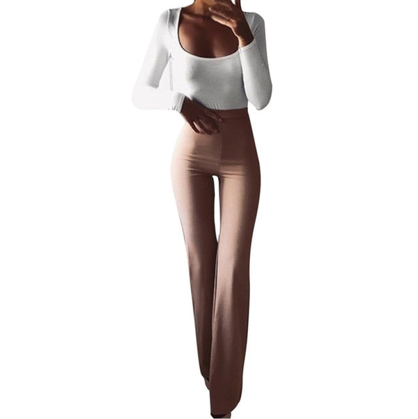 Women Fashion Solid Elasticity Bell-bottoms Pants