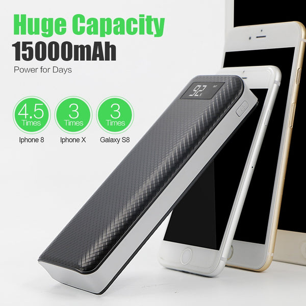 Mobile Phone Chargers 15000mAh Power Bank External Battery USB Portable