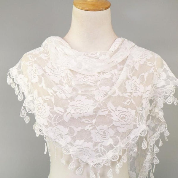 Women Scarves Lace Tassel Rose Floral Hollow  Shawl