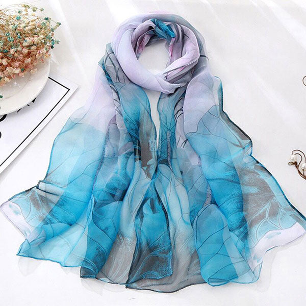 Fashion Women Scarves Lotus Printing Long Soft Wrap Elastic