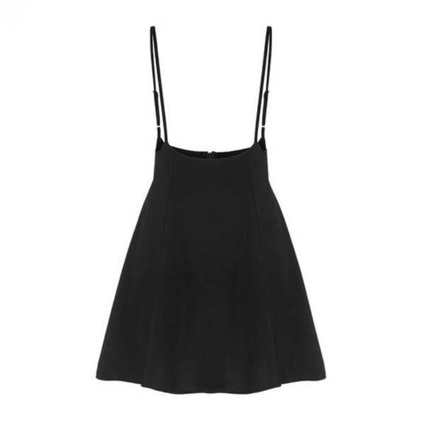 Women Black Skirt with Shoulder Straps Pleated