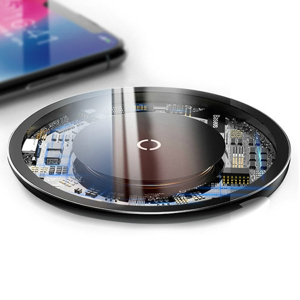 Wireless Charger For iPhone X 8 Transparent Glass Charging