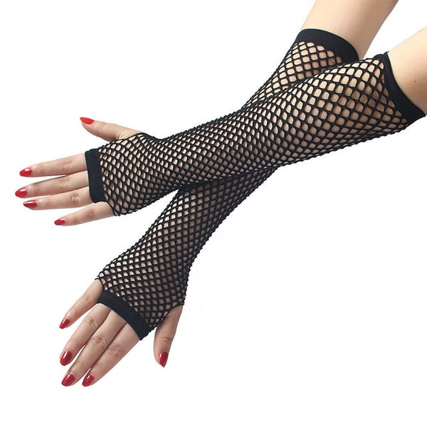 Gloves Neon Sexy Long Fingerless Fishnet Lace High