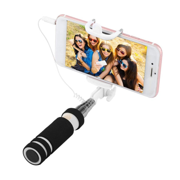 Colorful 14-60cm Mini Extendable Handheld Selfie Stick Wired