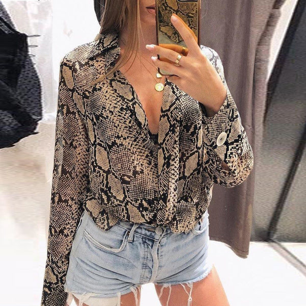 Womens Chiffon Casual Snake Printed Button Long Sleeve