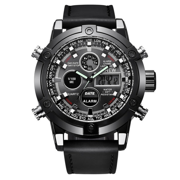 Luxury Dual Movt Men's Leather Quartz Analog Digital
