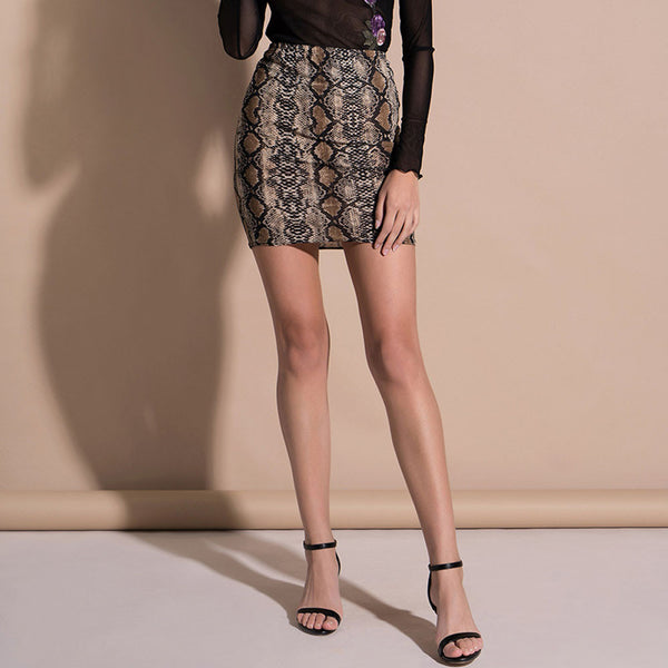 Women Skirt Sexy Snake Print High Waist Zippers Pencil Mini