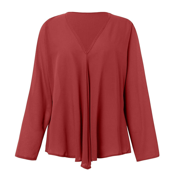 Women Irregular V Neck Long Sleeve Chiffon Casual