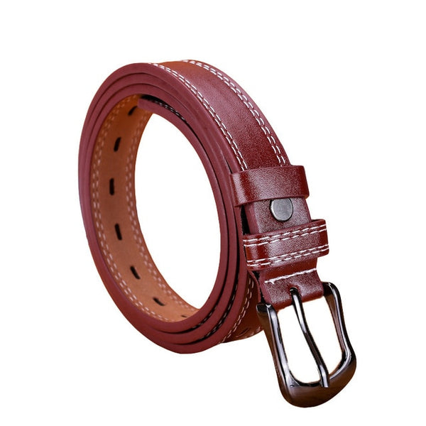 Woman belt Skinny Waist Thin Leather Buckle Narrow