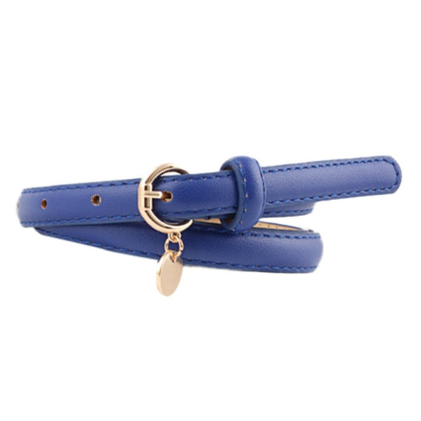 Woman Roundness Pendant Leisure Thin Leather Belt