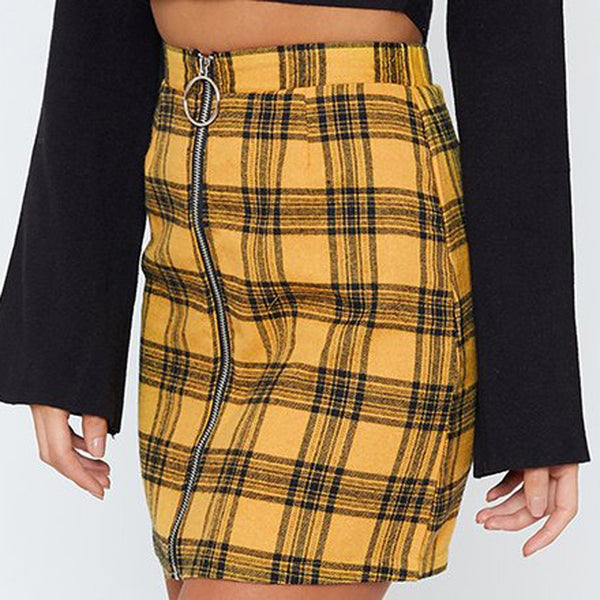 Print Pencil Empire Skirts Womens Sexy Party Plaid Zipper