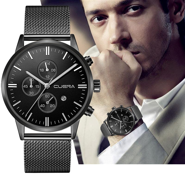 Men Stainless Steel Quartz Wristwatch Clock Sport