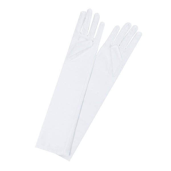 Women Sexy Party Gloves 22'' Long Black White Satin