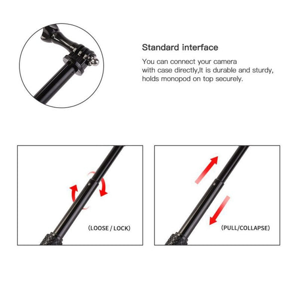 36 inch Aluminum Monopod for GoPro Hero 6 5 7 4 Black Silver Session