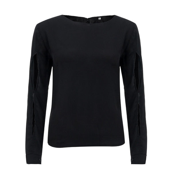 Fashion Women Solid O-Neck Long Sleeve Back Hollow Casual Tops