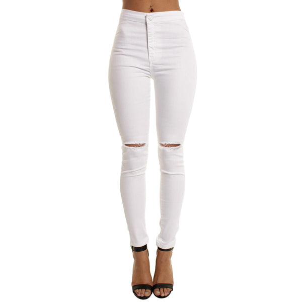 Women Casual Slim Solid Hole Long Jeans Zippers Sexy Skinny