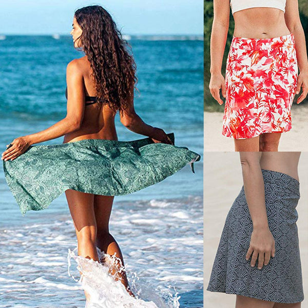 Women Print Quick Wrap Bikini Cover-up Multitasks Travel Skirt