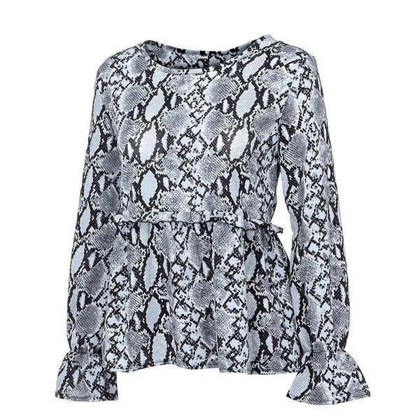 Women Blouse Shirts Serpentine Print Casual Top Fashion