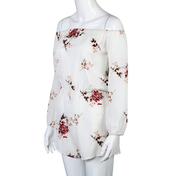 White summer Floral Print off shoulder women's jumpsuit