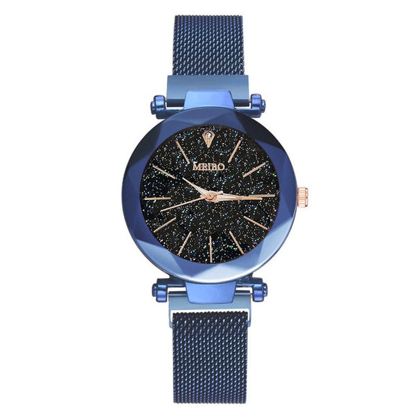 Women Watches Quartz Stainless Steel Band Magnet Starry