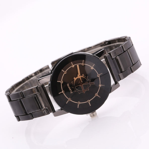 Women Watches Dress Clock Fashion Black Round Dial Stainless