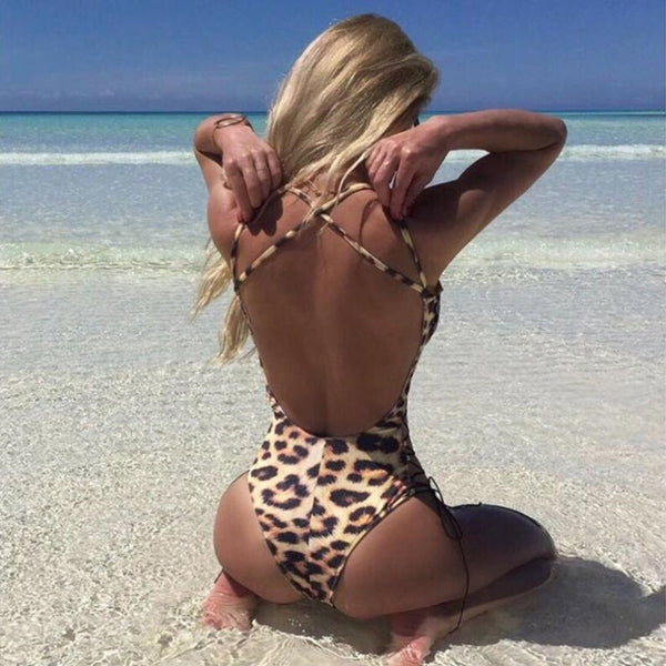 Summer Rompers Womens Shorts Fashion Print Leopard Backless