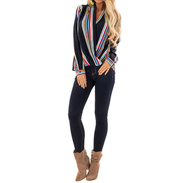 Women's Casual Top Striped Print  Long Sleeve V-Neck