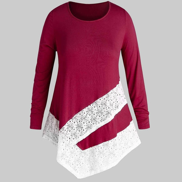Womens Long Sleeve Solid Color Round Neck Top Lace Patchwork