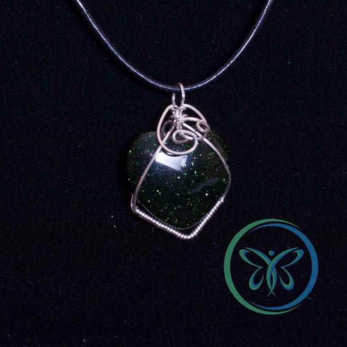Green Goldstone Heart & Sterling Silver Pendant