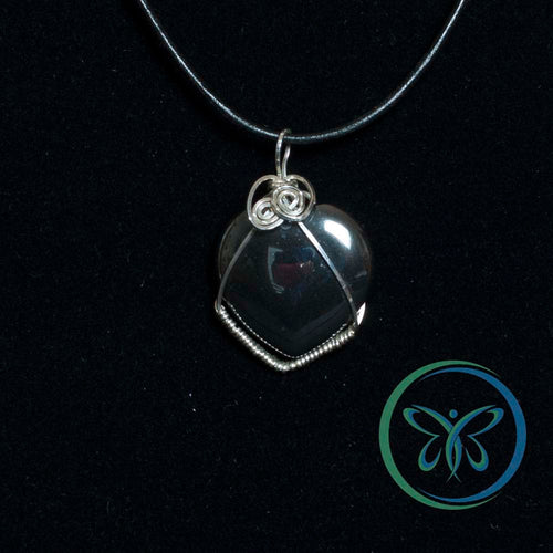 Hematite Heart & Sterling Silver Pendant & Sterling Silver