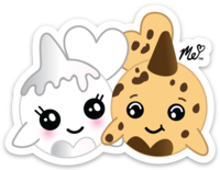 Milk and Cookies Narwals Die Cut Stickers (Decal)