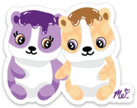 Peanut Butter and Jelly Hamsters Die Cut Sticker (decal)
