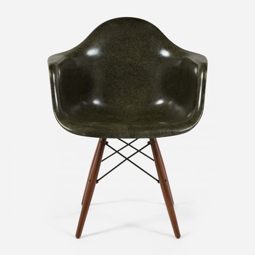 modernica fiberglass dowel arm shell case study chair army green