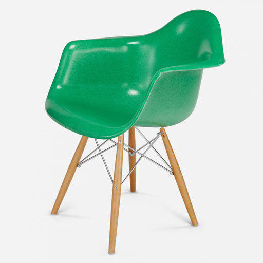 modernica fiberglass dowel arm shell case study chair maple zinc grass green