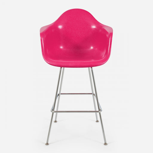 modernica fiberglass h base bar stool arm shell case study chair psa magenta