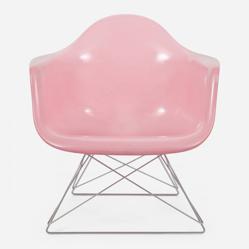 modernica fiberglass low rod arm shell case study chair pink