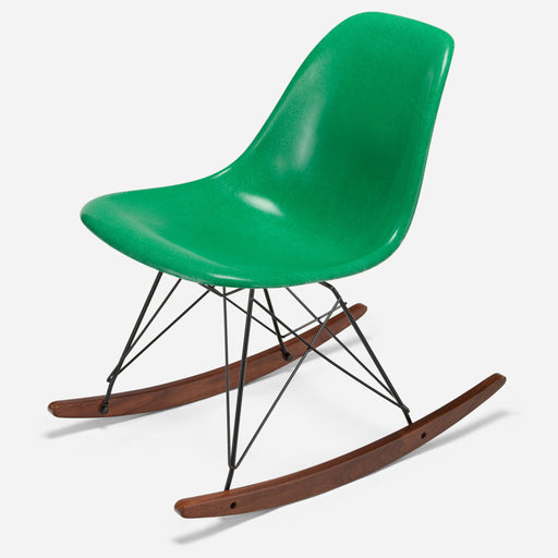 modernica fiberglass rocker side shell case study chair walnut black wire grass green
