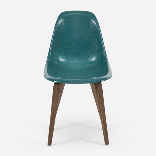 modernica fiberglass spyder side shell case study chair peacock