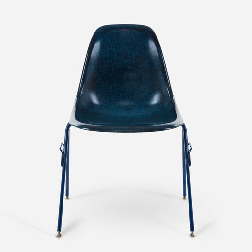 modernica fiberglass stacking side shell powder coat case study chair indigo